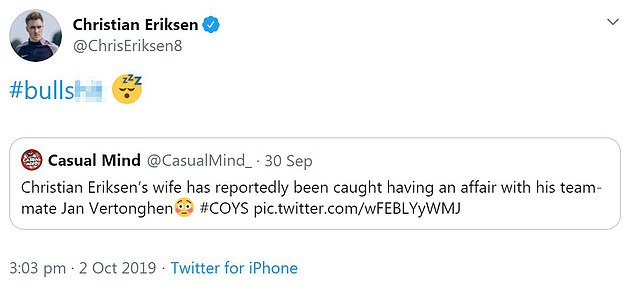 Eriksen replied to a post on Twitter that alleged the Dane's girlfriend had been unfaithful