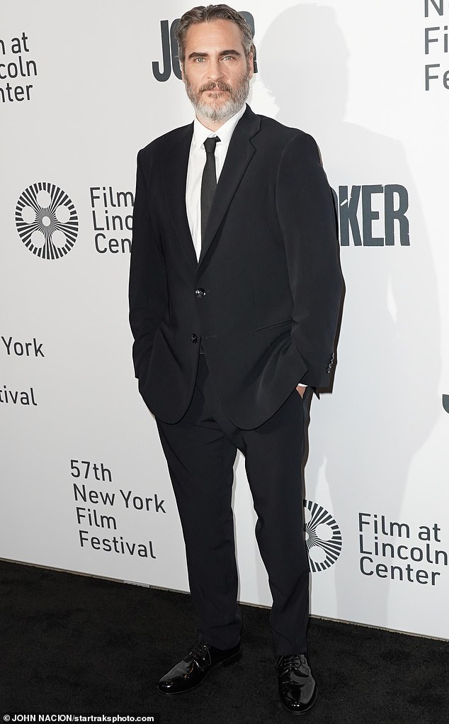 Man of the moment:Acclaimed actor Joaquin Phoenix was in New York City on Wednesday in support of his new film Joker, which screened at the 57th New York Film Festival