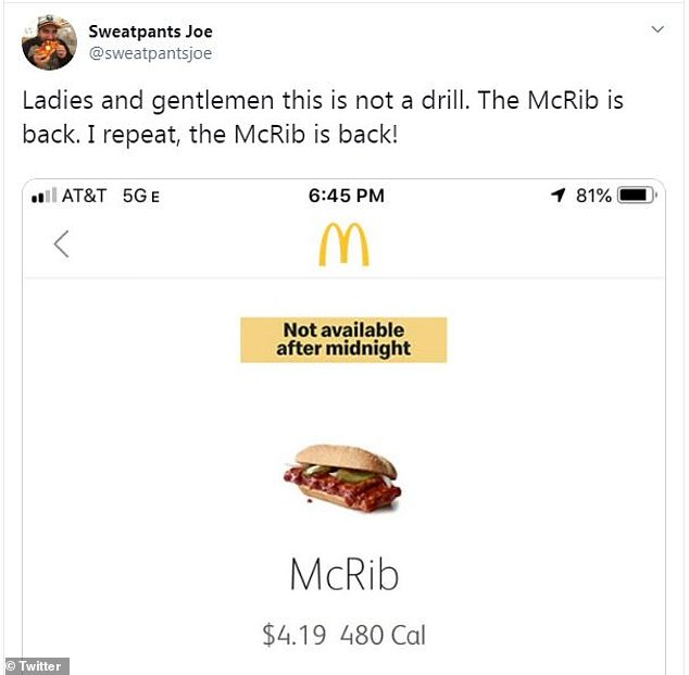 Fans of the McRib took to Twitter (pictured) to share their excitement about the sandwich's arrival next week