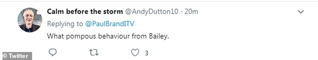 Twitter users noticed the awkward encounter of the two candidates and noticed Bailey could not look Stewart in the eye