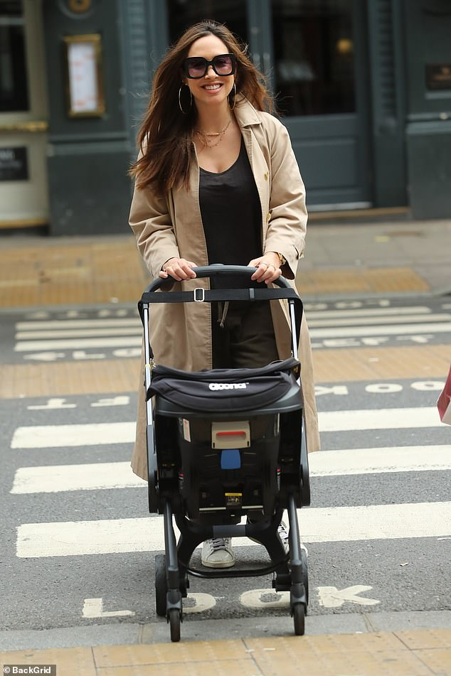 Hot mama! Myleene Klass, 41, was glowing as she headed to work as a presenter for Smooth Radio at Global Studios in London on Friday, and brought little Apollo along for the ride