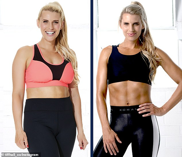 Australian fitness guru Tiffiny Hall recently shared a photo of herself eight weeks post partum (pictured left) and at nine months after giving birth (pictured right)