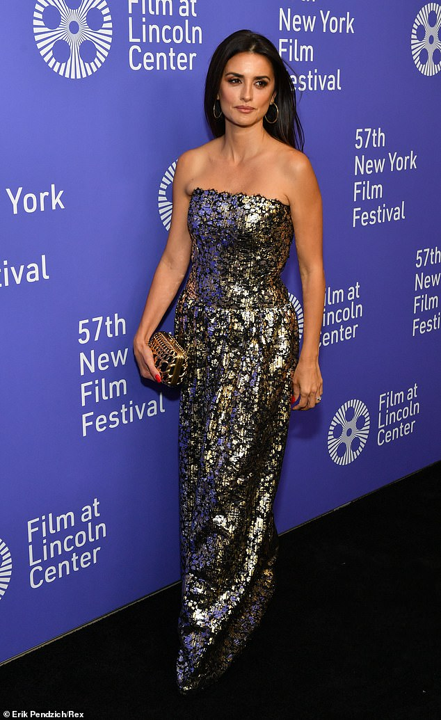 Shine bright! Penelope Cruz, 45, stunned as she walked the carpet for the New York Film Festival premiere of her film Wasp Network on Saturday