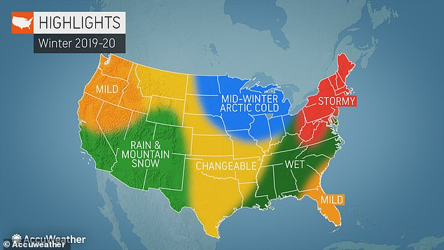 The potentially brutal winter in the Northeast came came as part of AccuWeather's annual winter forecast, released Friday. Highlights of weather predictions across the nation are pictured above