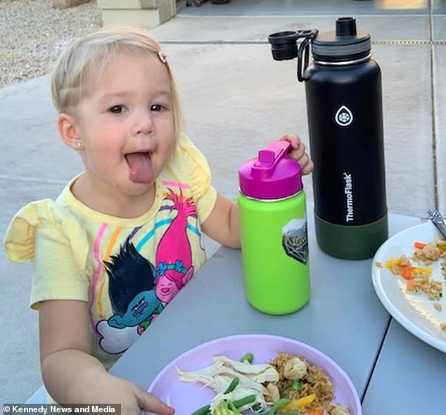 'Kimber (pictured) didn't realize what they were doing was wrong, and I think she enjoyed all the attention of getting her haircut,' the youngster's mother said