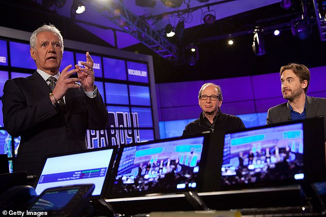 Trebek (left) said that the chemotherapy has left him with mouth sores that make it hard for him to enunciate and that he's noticed he's slurring his words while hosting Jeopardy! lately