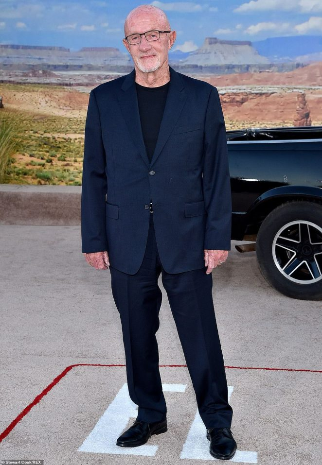 Classic suit: Jonathan Banks donned a blue suit over black t-shirt with a pair of black leather dress shoes
