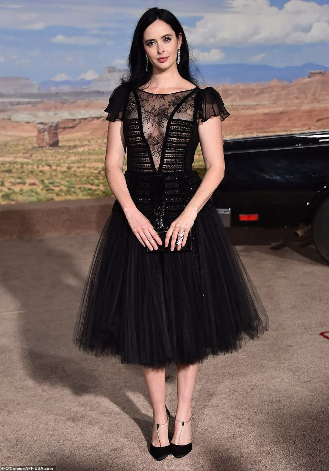 Dressed to kill: Krysten Ritter, who served a memorable performance as Jane in the original series, was dressed to kill in a black dress