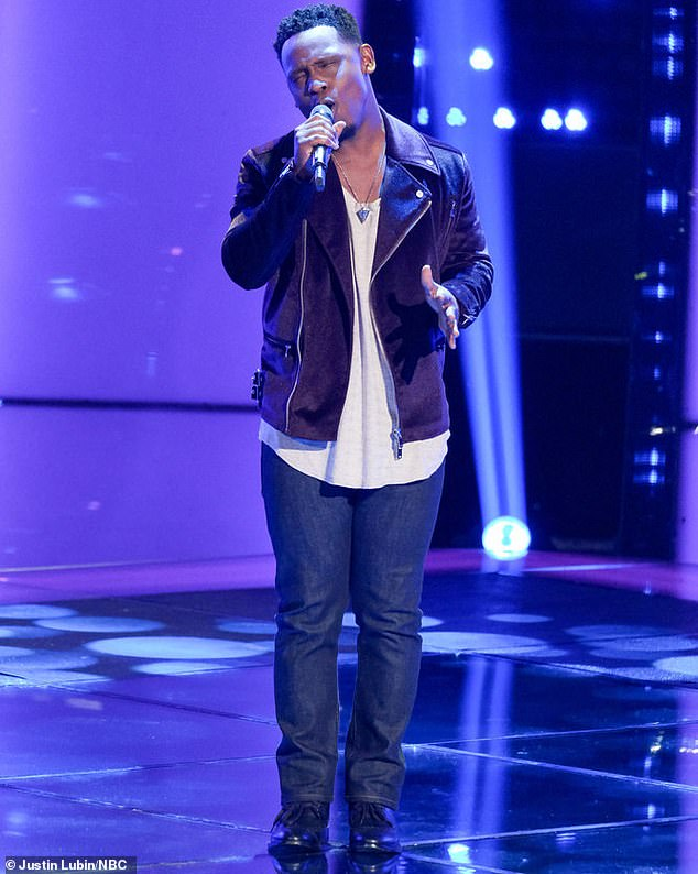 Commercial painter: Jessie Lawrence, 31, a commercial painter from Newark, New Jersey had a tough road getting to The Voice auditions, where he sang O-Town's 'All Or Nothing'