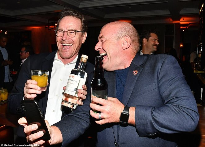 Party: Cranston and Norris quenched their thirst