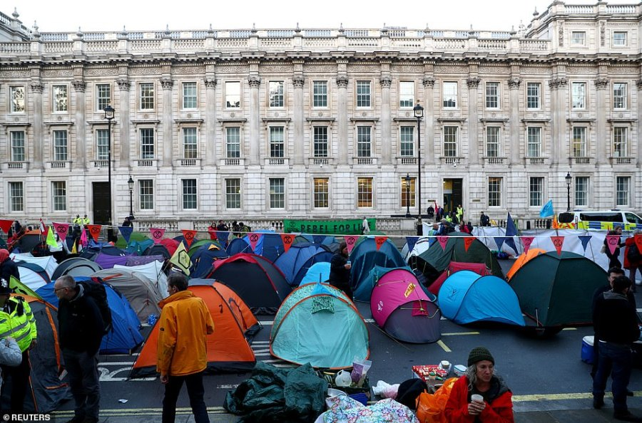 Row after row of tents line Whitehall with as XR supporters blockade all Government departments in London today