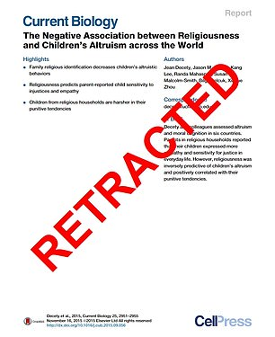 The retracted paper,The Negative Association Between Religiousness And Children's Altruism Across The World