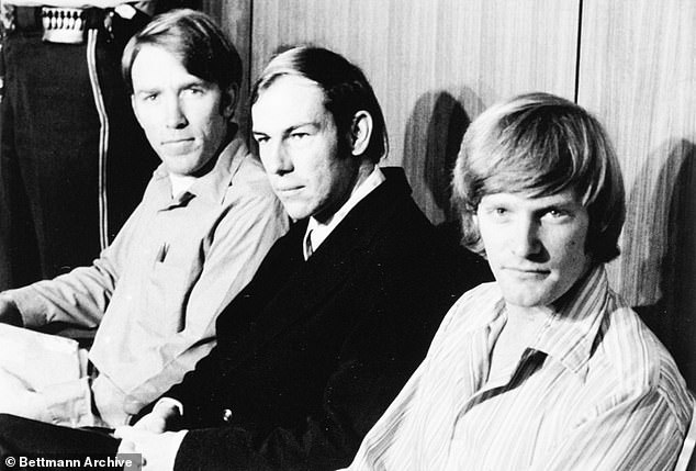 Woods (center), now 67, was one of three Bay Area defendants in the case, which would go on to become one of the most notorious and bizarre mass kidnappings in US history (James Schoenfeld is shown left, Richard seen right)