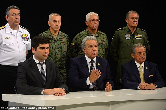 Ecuadoran President Lenin Moreno (centre) speaking in a national radio and television network broadcast in Guayaquil on October 7 as his nation's capital is rocked by angry protests