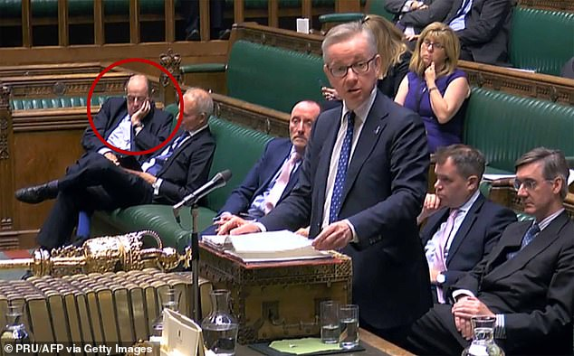 The Chancellor of the Duchy of Lancaster, as Michael Gove (pictured) is these days, is a wind-up par excellence. A maestro at getting under rivals' finger nails. Pictured on October 8 with Sir Nicholas Soames, circled, resting his eyes