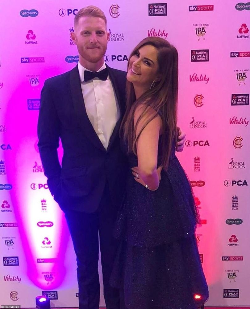The happy couple at the start of the eveningat the Professional Cricketers' Association party in London last Wednesday
