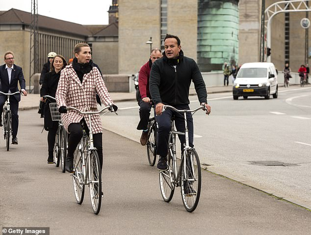 Irish leader Leo Varadkar (pictured right cycling with Danish PM Mette Frederiksen) left Boris Johnson's plans for a Brexit deal in tatters by reneging on a secret compromise over Northern Ireland, it has been claimed