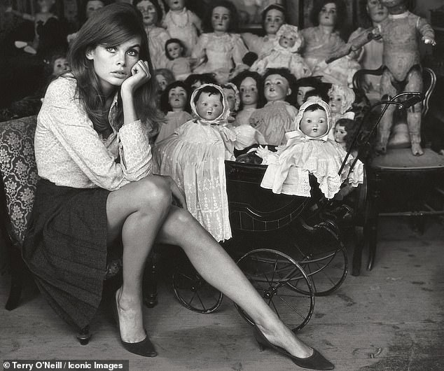 'It's about tiny, wide-eyed, leggy bambini who couldn't fight back. It's about disempowerment. The big eyes, the Biba pouts, looking like a Lolita, like a child,' Virginia Nicholson said. Pictured, model Jean Shrimpton poses at a dolls hospital in London in 1964