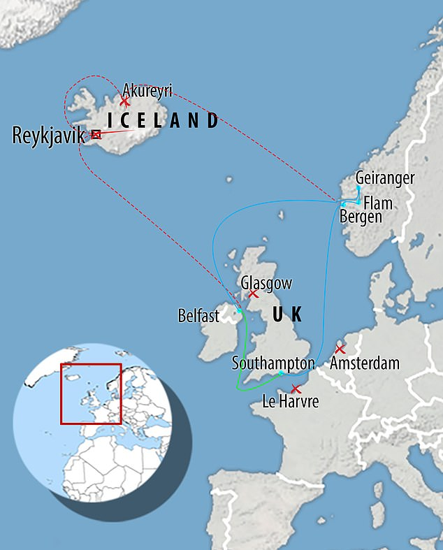 The cruise's route: Blue shows where it travelled, red is where it should have gone via Iceland and the green shows the stages left to complete. It failed to dock at La Havre, Amsterdam, Reykjavik and Glasgow