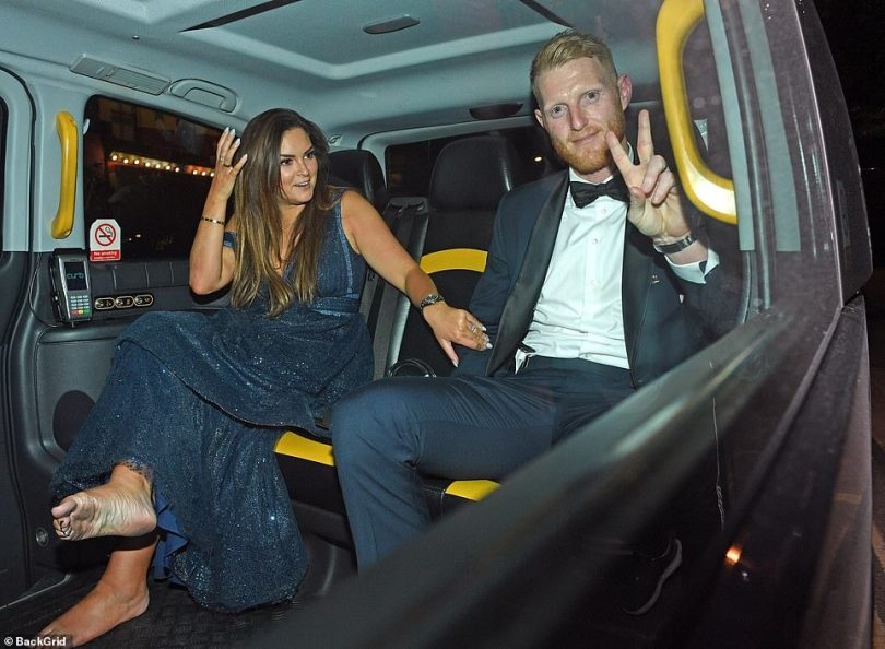 Minutes after Ben says he playfully pushed his wife, they looked happy as they left together in a black cab heading for McDonald's