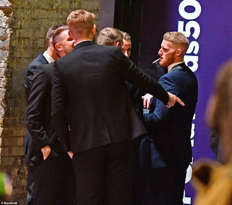 Ben Stokes pictured celebrating being named players' player of the year at the Professional Cricketers' Association Awards with a cigarette outside