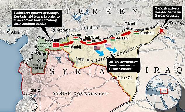 Turkish President Erdogan has previously outlined plans to create a 'peace corridor' along Turkey's southern border by attacking five Kurdish strongholds. Turkey confirmed that its air force blew up a Kurdish supply route Monday night in preparation for an invasion (top right)