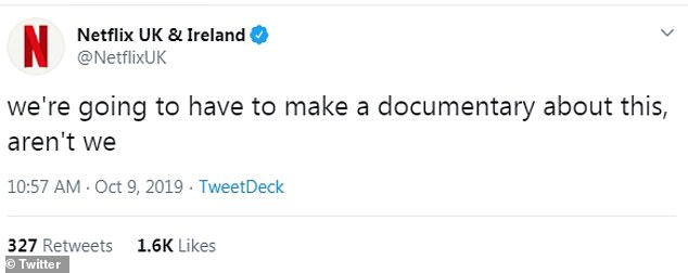Ha! Getting in on the action, the official account for Netflix penned: 'we're going to have to make a documentary about this, aren't we'