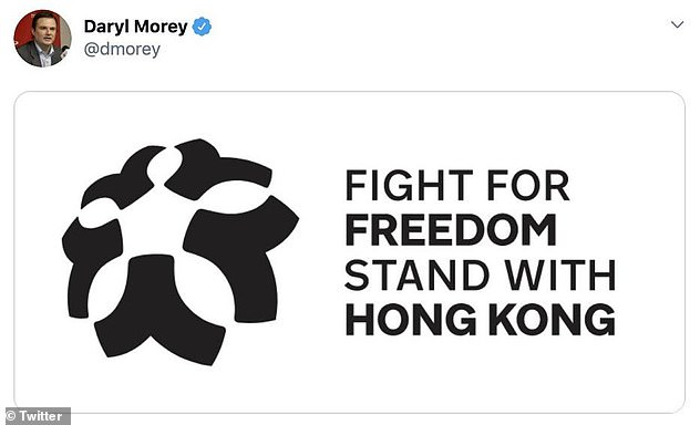 Morey's initial tweet included an image captioned: 'Fight For Freedom. Stand With Hong Kong'