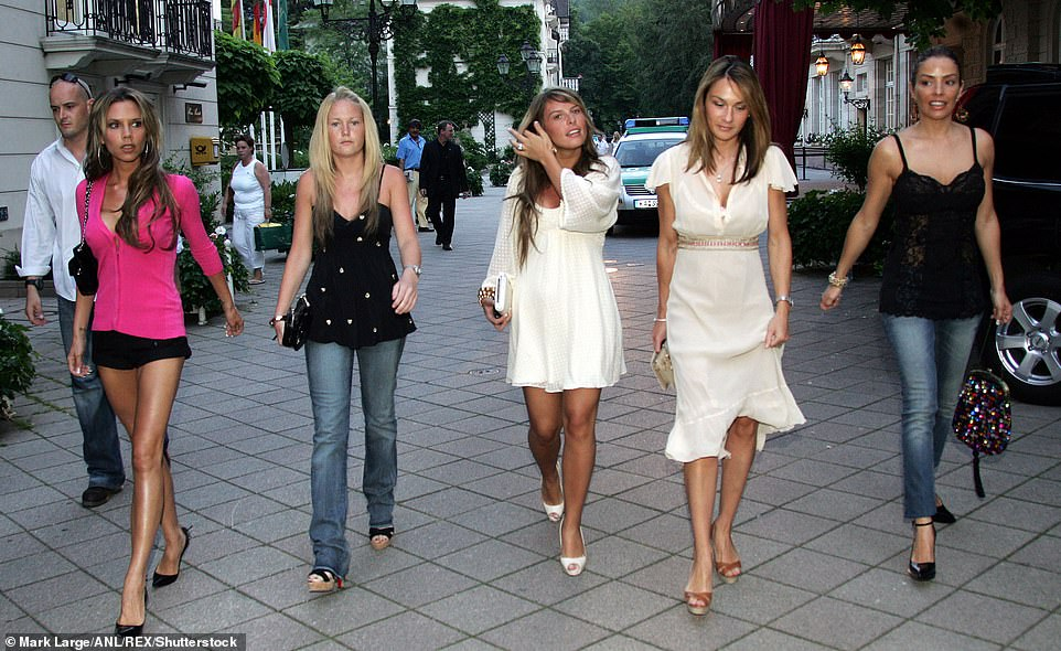 Old friends: L-R: Victoria Beckham, Unknown, Coleen Rooney (girlfriend Of Wayne Rooney) Louise Owen (wife Of Michael Owen) and Elen Rivas (ex fiancé of Frank Lampard) pictured together in 2016 - the WAGS are rarely seen together these days