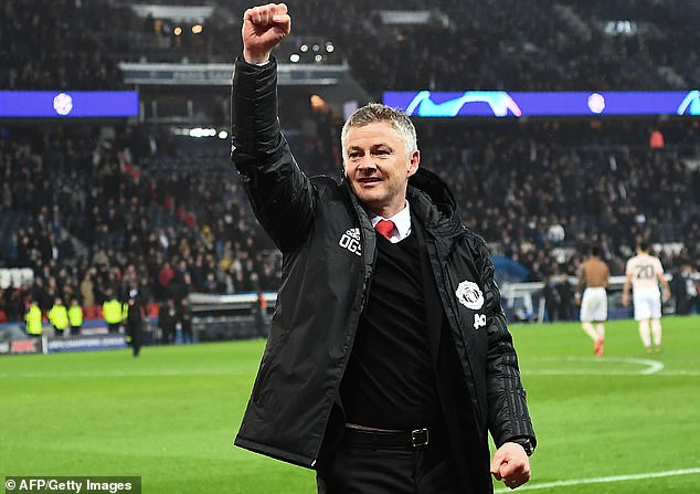 Solskjaer celebrates after United's astonishing win over Paris Saint-Germain back in March