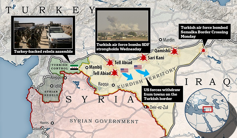 Two small Turkish expeditionary forces entered Syria near the towns of Tell Abaid and Sar Kani early this morning, ahead of a major assault (centre). Meanwhile Syrian rebels allied with Turkey were pictured massing the forces in the area around Aleppo (left). Turkey also launched an airstrike overnight on Monday on a crossing point between Iraq and Syria to stop Kurdish troops resupplying (right). Today fresh Turkish airstrikes bombarded the border towns of Tell Abiad, Sari Kani and Qamishli