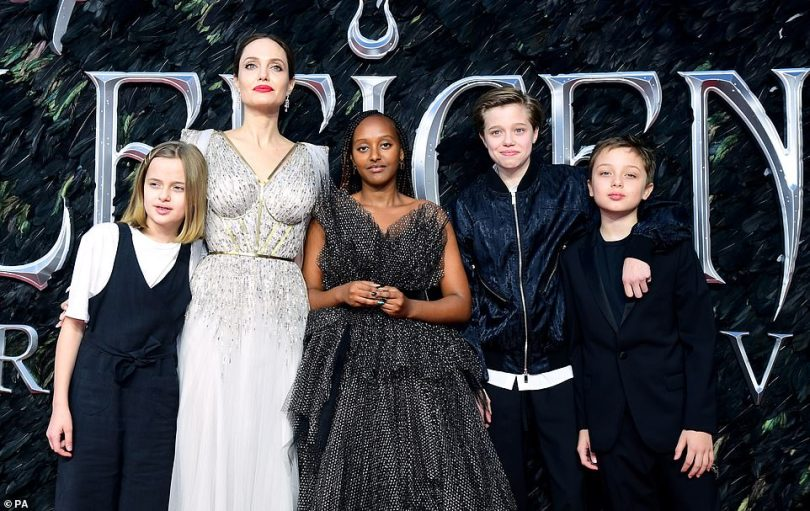 While she was without her two eldest, Maddox, 18 and Pax, 15, Angelina appeared to be completely proud as she joined her four youngest on the red carpet