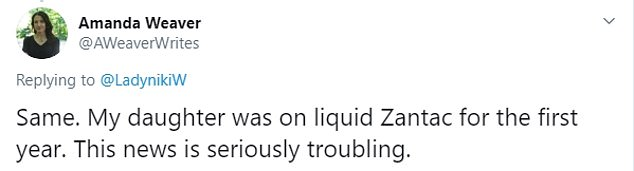 Similarly, Amanda Weaver's daughter took liquid Zantac - one of the products recalled in the UK - for her first year of life