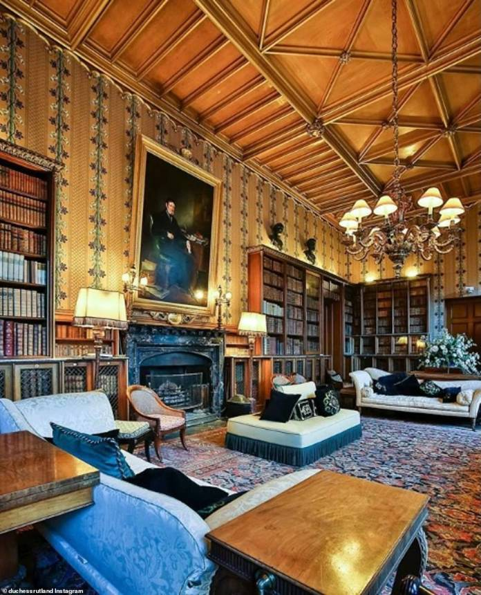 "A large library of oriental rugs, chaise longues and chandeliers is described in a post by Emma as her ""favorite place in the afternoon""."
