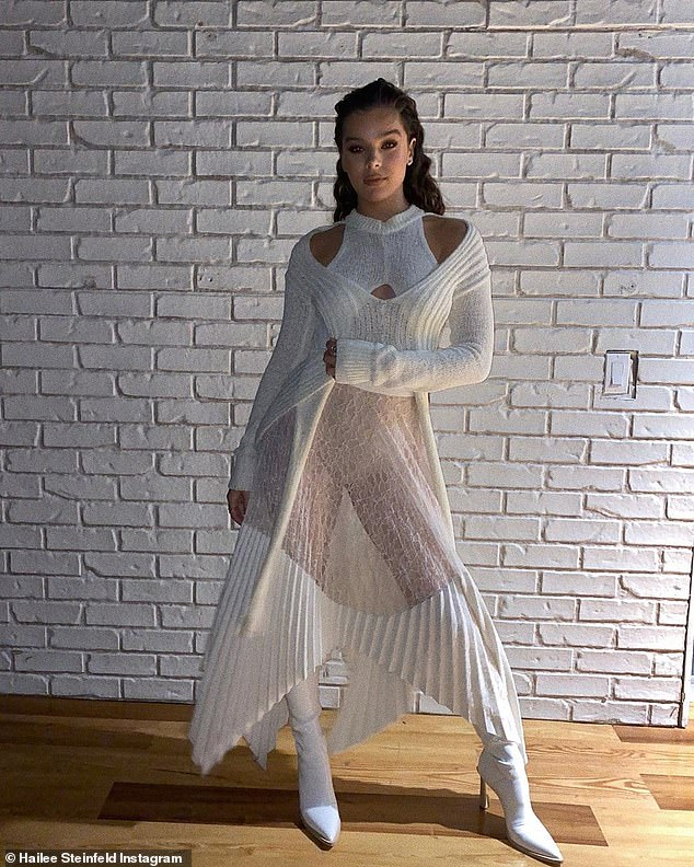 Vision: Her outfit featured a cable knit sweater and a semi sheer pleated skirt and she modeled the look for a photo shared to her Instagram