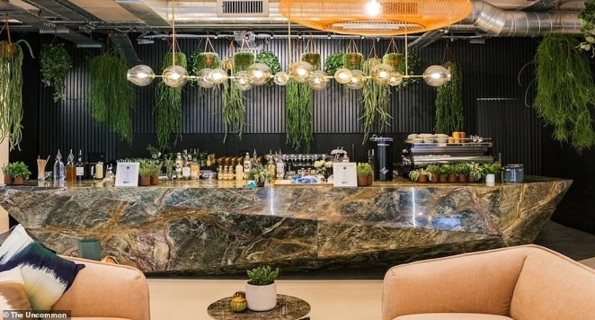 The Uncommon's flagship location in Liverpool street has a bar and even a wellness studio with Peleton spinning bikes