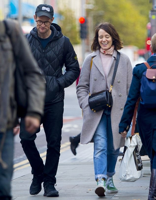 Pals: Claire Foy and Matt Smith proved that they are still pals as they enjoyed a fun autumnal stroll together in London on Thursday