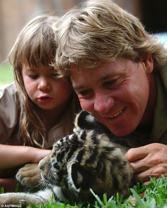 Tragic: Bindi was aged just eight-years-old when Steve died after a stingray barb pierced his chest (pictured Bindi and Steve in 2003)