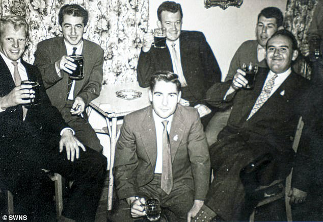 Spike is pictured centre front. He worked as an engineer which meant his feet stayed mostly on the ground