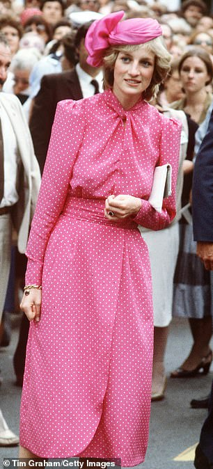 Mirror image: The rising star donned a pink polka dot dress, which was almost a carbon copy of the one Diana wore at the time while visiting the Freemantle Hospital, near Perth (pictured)