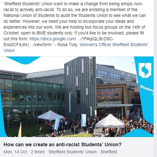 Sheffield University's Student's Unionannounced it would be holding meetings to make the institution anti-racist - but banned white undergraduates from attending
