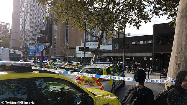 Pictured: Police at the scene in Stratford, east London, where a schoolboy has died following a stabbing