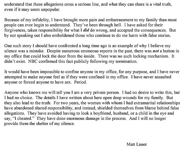 Lauer released a three page, 1,400 word letter on Wednesday to defend himself