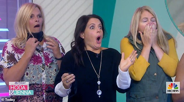 Loving it:Her three friends screamed and clapped when they saw her new look for the first time