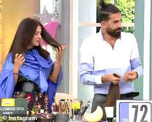 Shock: As hairdresser Bilal Ağın, pictured, didn't tell her what to expect, the model was in shock when she was 30 cm had been cut off
