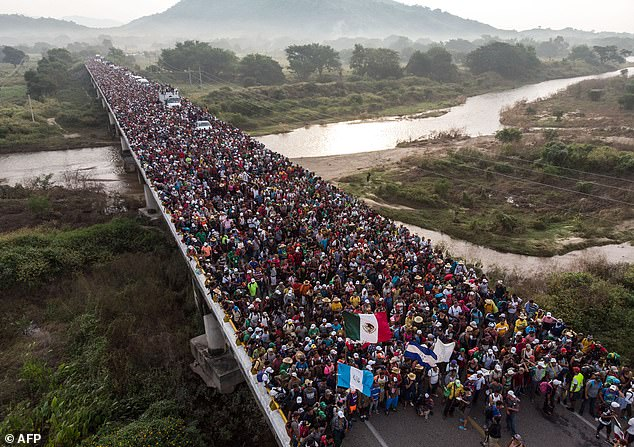 Identified only as Rolando, 27, the asylum-seeker fled to the US as part of a migrant caravan earlier this year, hoping to flee torture and persecution in his home country, two years after he was shot (pictured: Honduran migrants heading in a caravan to the US, as the leave Arriaga on their way to San Pedro Tapanatepec, in southern Mexico on October 27, 2018)