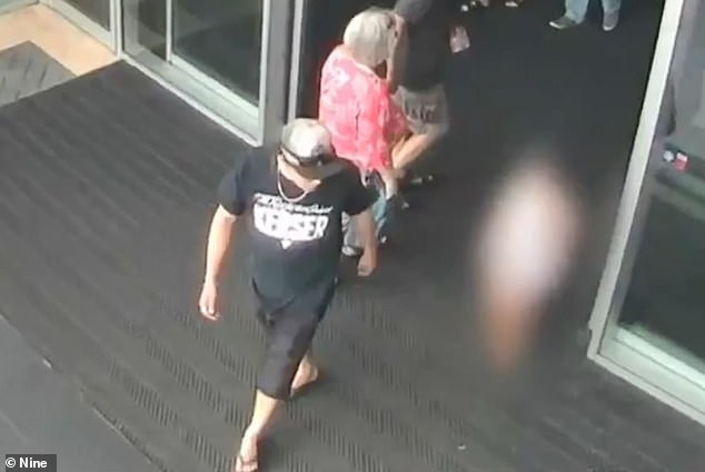 Free leads the little girl away from Brisbane's Westfield North Lakes, in footage shown to the court