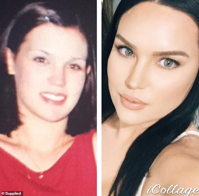 Sydney-based Kristi Young was also 18 (left) and 37 (right) in her 'glow up' photos, again causing people to question 'why she doesn't have any wrinkles'