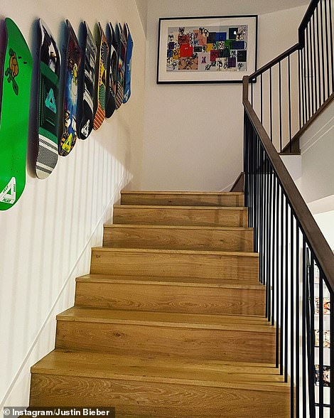 Colourful: Vibrant prints and snowboards dominate the decor in the lavish mansion