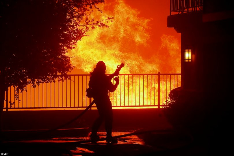 Multiple freeways, including Interstate 5, Interstate 210, and Interstate 405 northbound were shut down, according to the California Highway Patrol. Pictured: A firefighter waits for water as the Saddleridge fire flares up near homes in Sylmar on Thursday